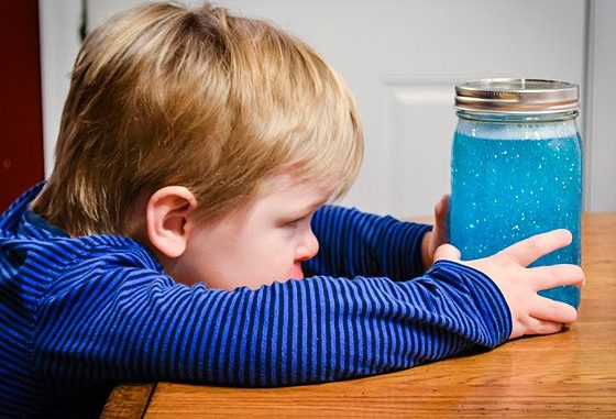 Toddler with Calming Jar