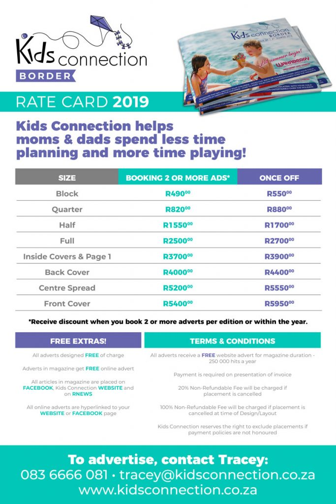 Kids Connection Border Rate Card